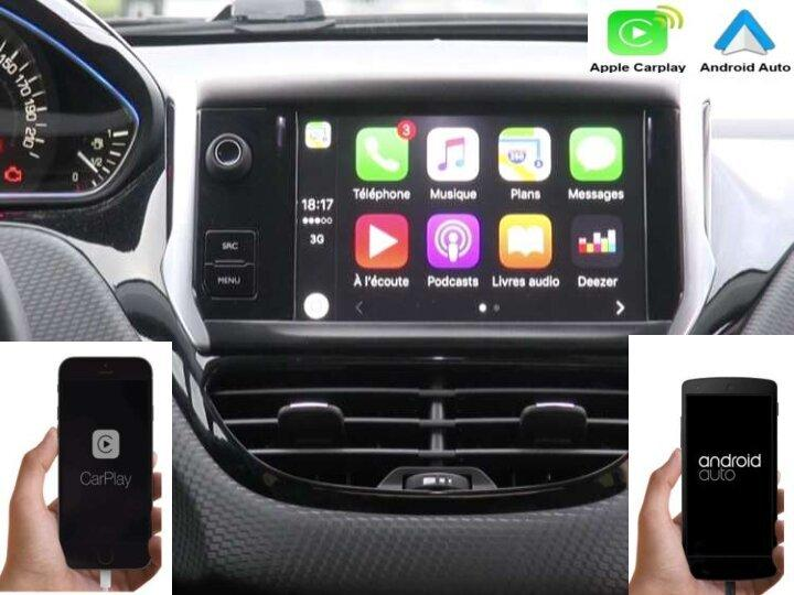 Autoradio carplay android auto gps bluetooth android peugeot 208 2008 camera de recul commande au volant ipod tv dvbt 3g 4g pas cher wifi poste usb sd tnt 2 din tactile canbus mirr