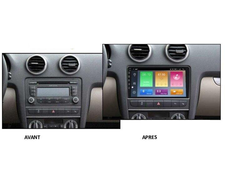 Autoradio gps bluetooth android audi a3 8p s3 rs3 camera de recul commande au volant carplay android auto pas cher wifi poste usb sd double 2 din tactile canbus mirror link www gps