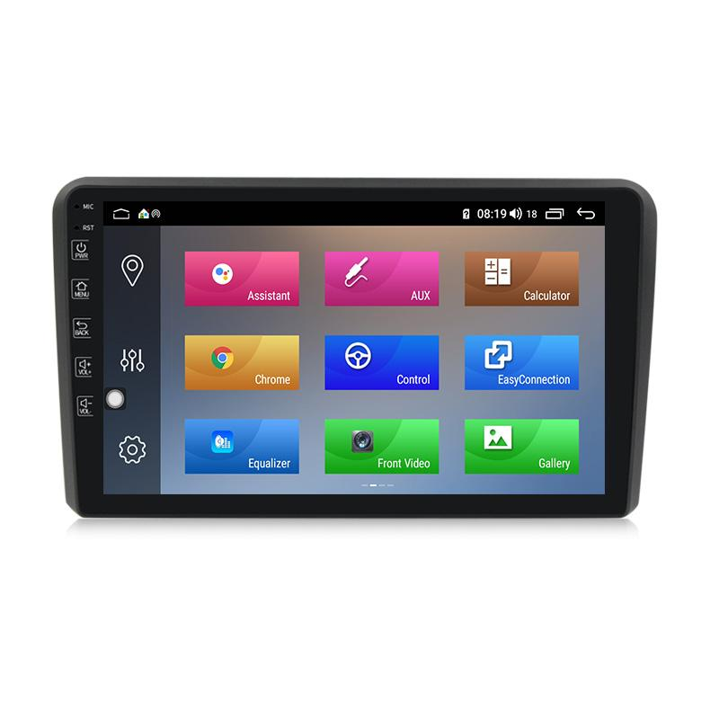 Autoradio gps bluetooth android audi a3 8p s3 rs3 camera de recul commande au volant carplay android auto pas cher wifi poste usb sd tnt double 2 din tactile canbus mirror link www