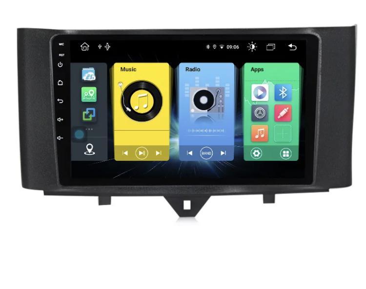 Autoradio gps bluetooth android smart fortwo 2010 2011 2012 2013 camera de recul commande au volant ipod tv dvbt 3g 4g pas cher wifi poste usb sd tnt 2 din tactile canbus mirror li