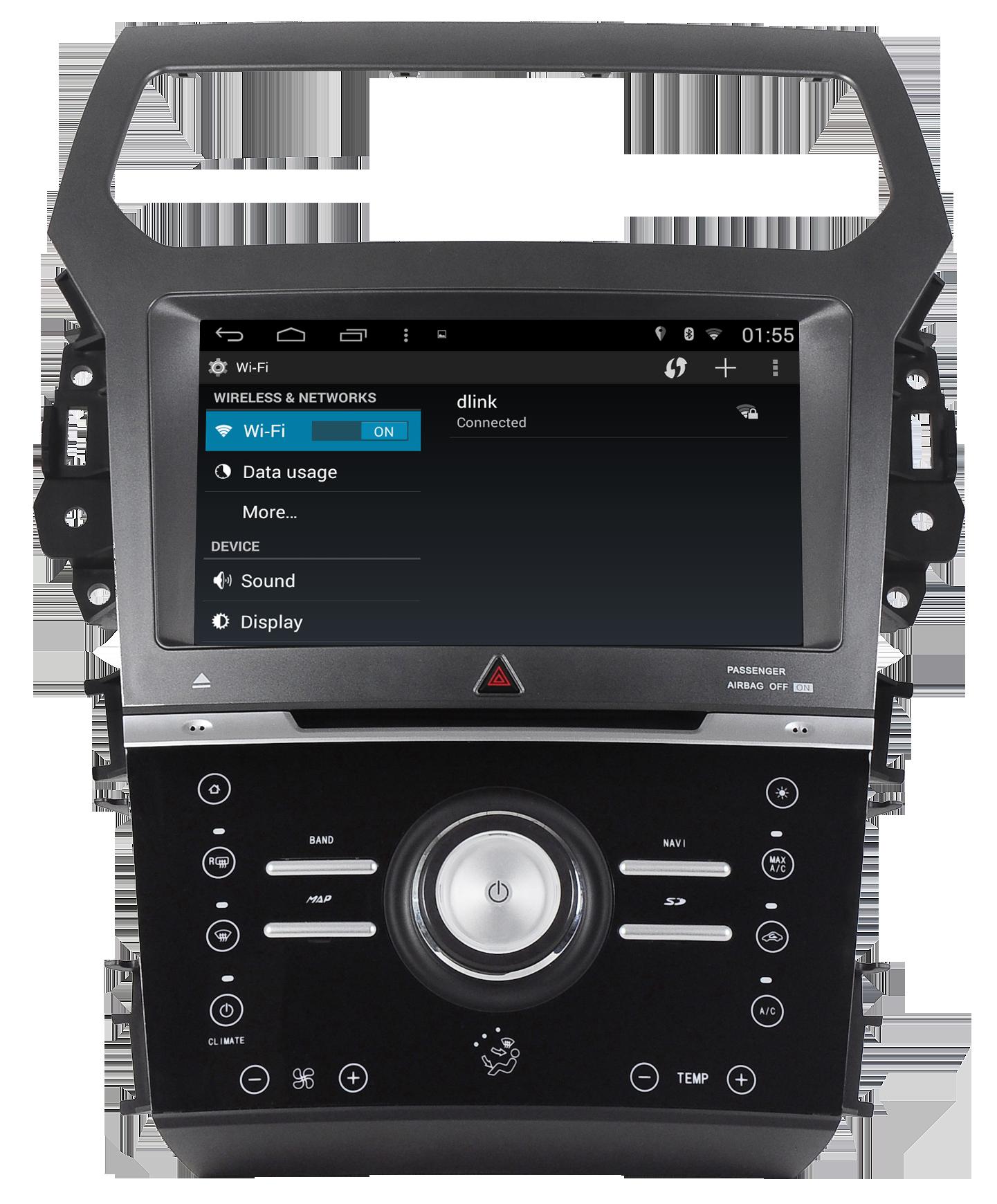 Autoradio gps bluetooth ford explorer 2012 2015 android camera de recul commande au volant ipod tv dvbt 3g 4g pas cher wifi poste usb sd tnt double 2 din canbus iphone samsung www