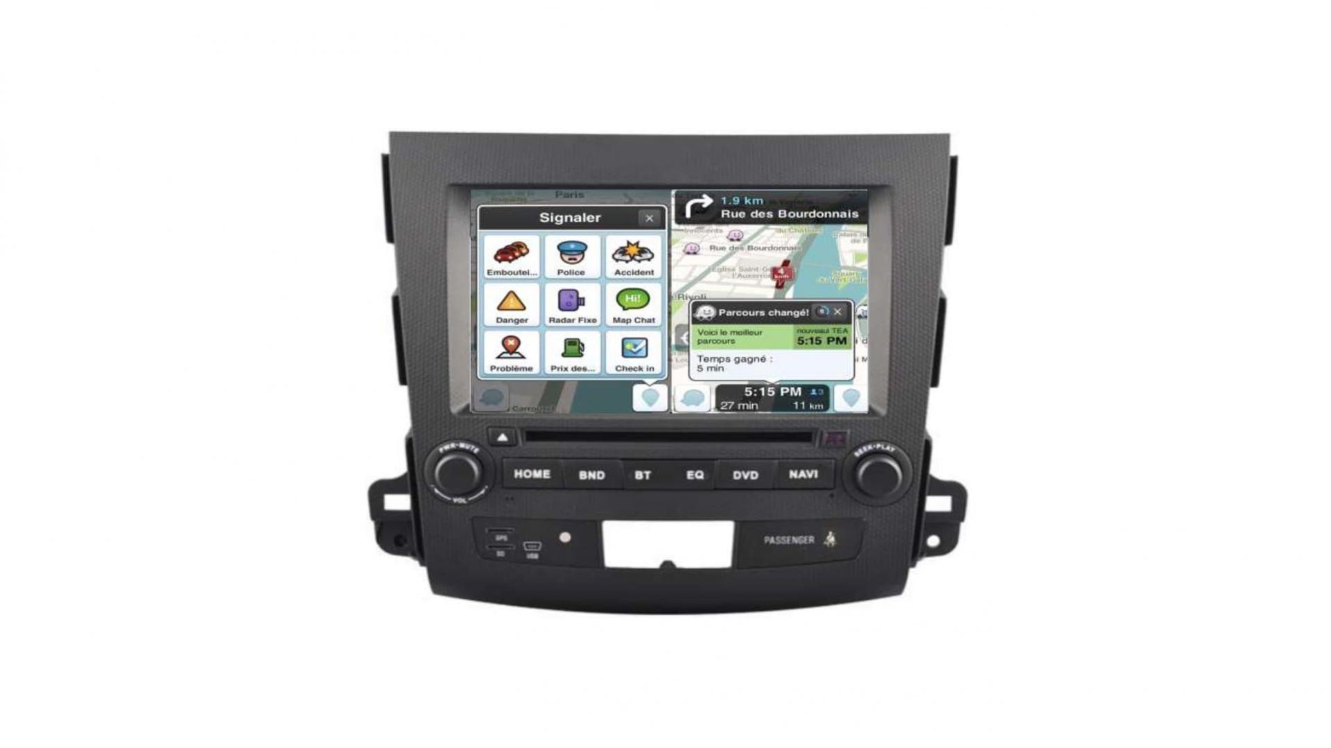 Autoradio gps bluetooth peugeot 4007 android auto carplay camera de recul commande au volant2