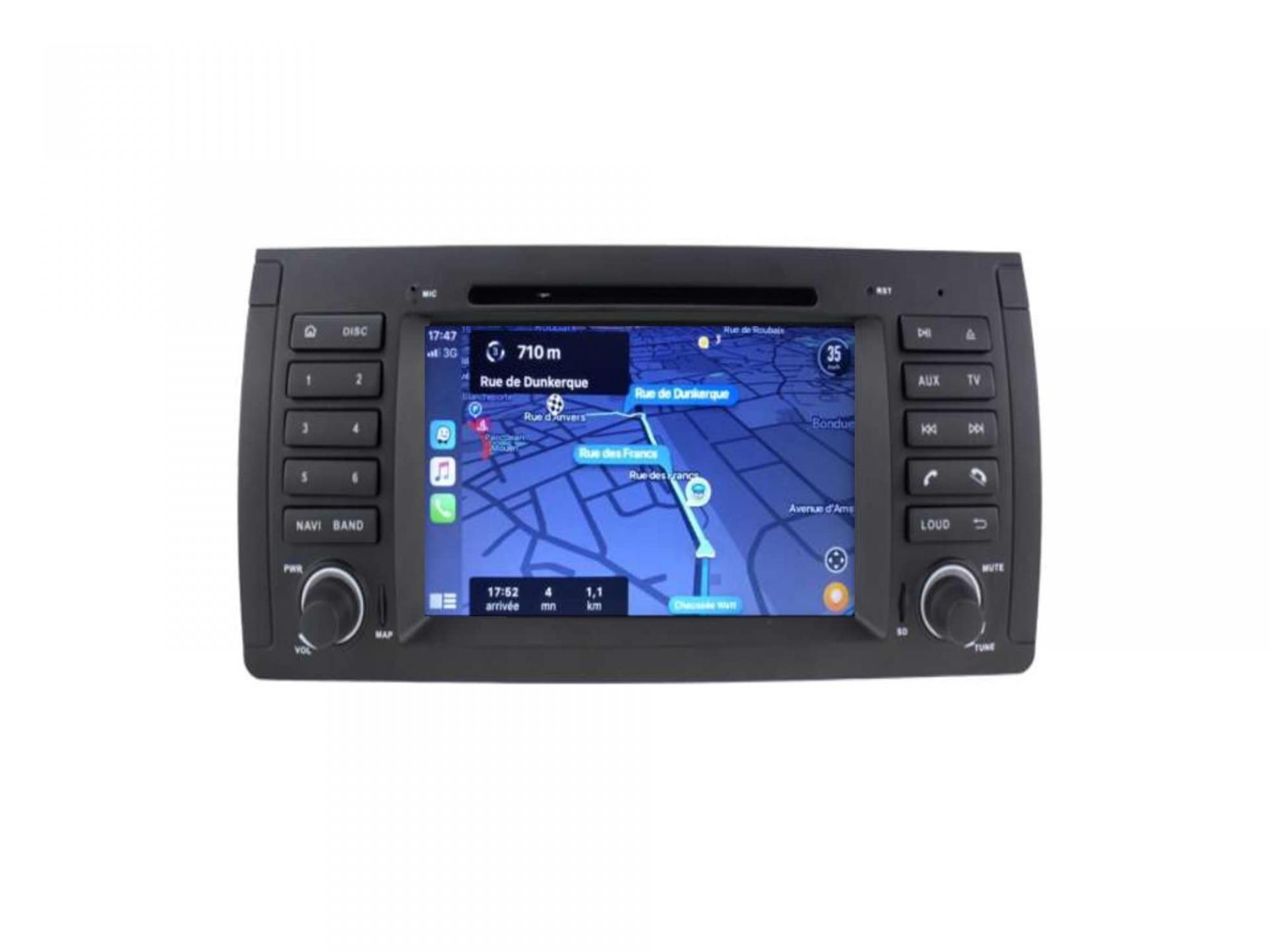 Autoradio gps carplay android auto bluetooth bmw serie 5 e39 m5 x5 e53 serie 7 e38 4