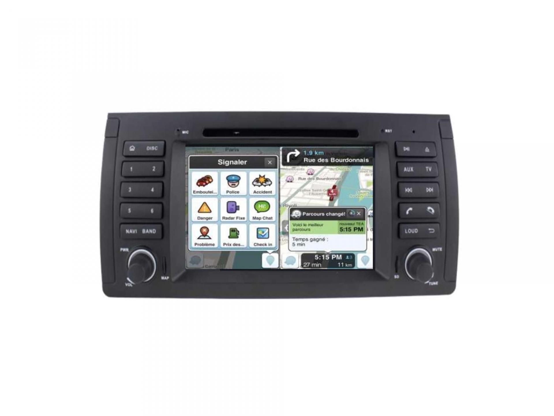 Autoradio gps carplay android auto bluetooth bmw serie 5 e39 m5 x5 e53 serie 7 e38 5