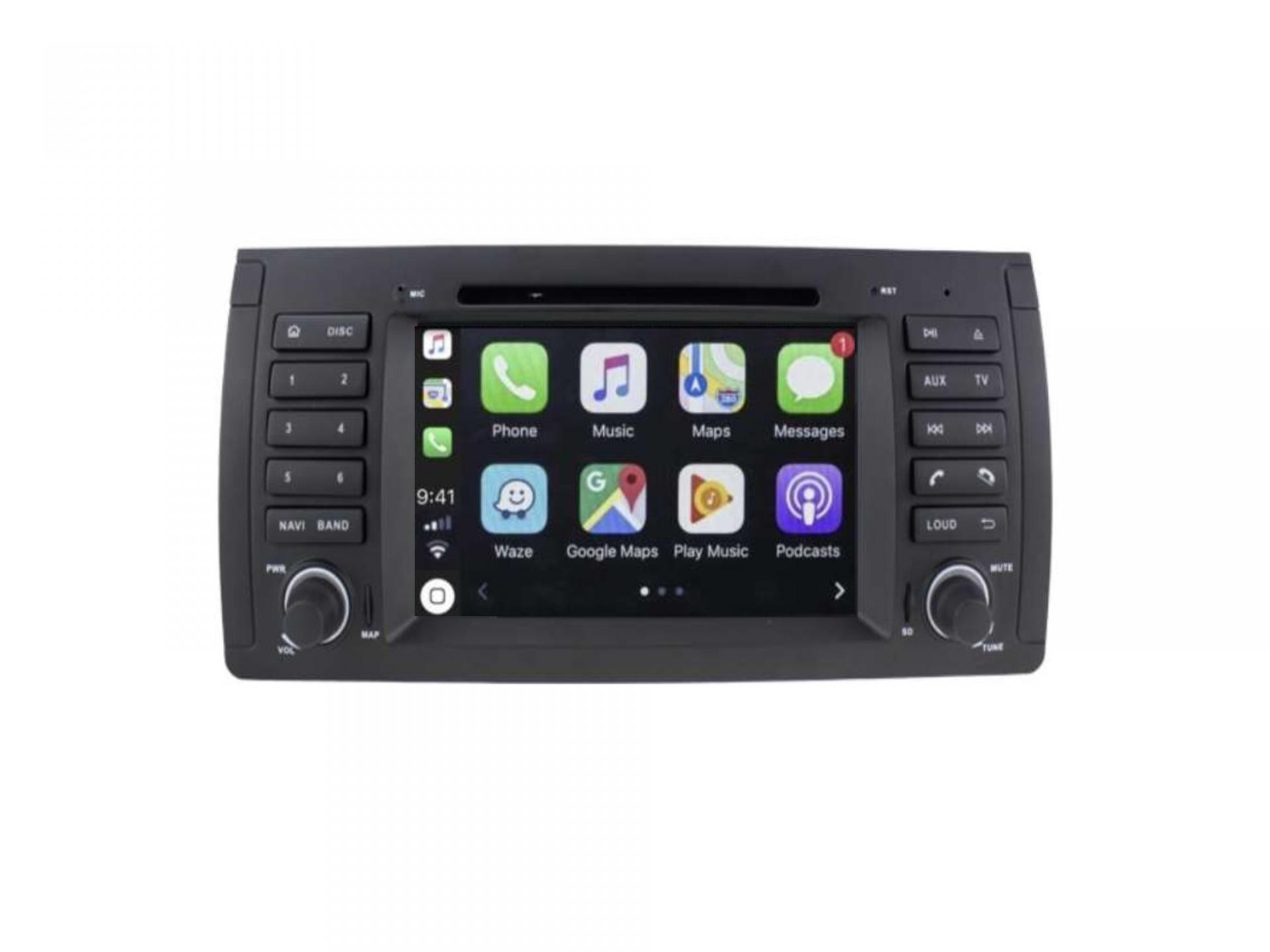 Autoradio gps carplay android auto bluetooth bmw serie 5 e39 m5 x5 e53 serie 7 e38 6