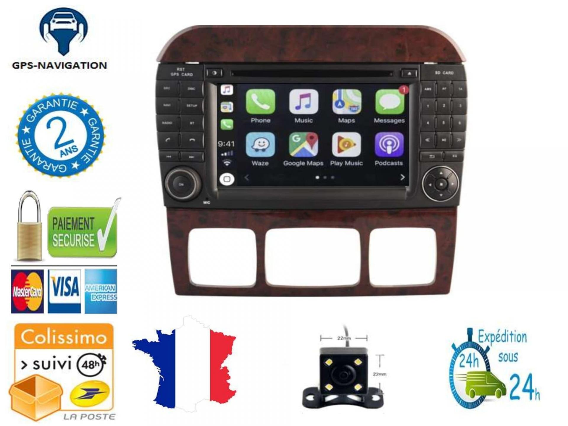 Autoradio gps carplay android auto gps bluetooth mercedes classe s w220 classe cl w215 2