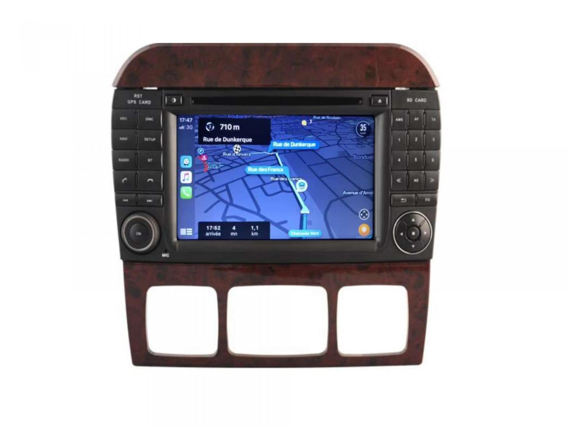 Autoradio gps carplay android auto gps bluetooth mercedes classe s w220 classe cl w215 3