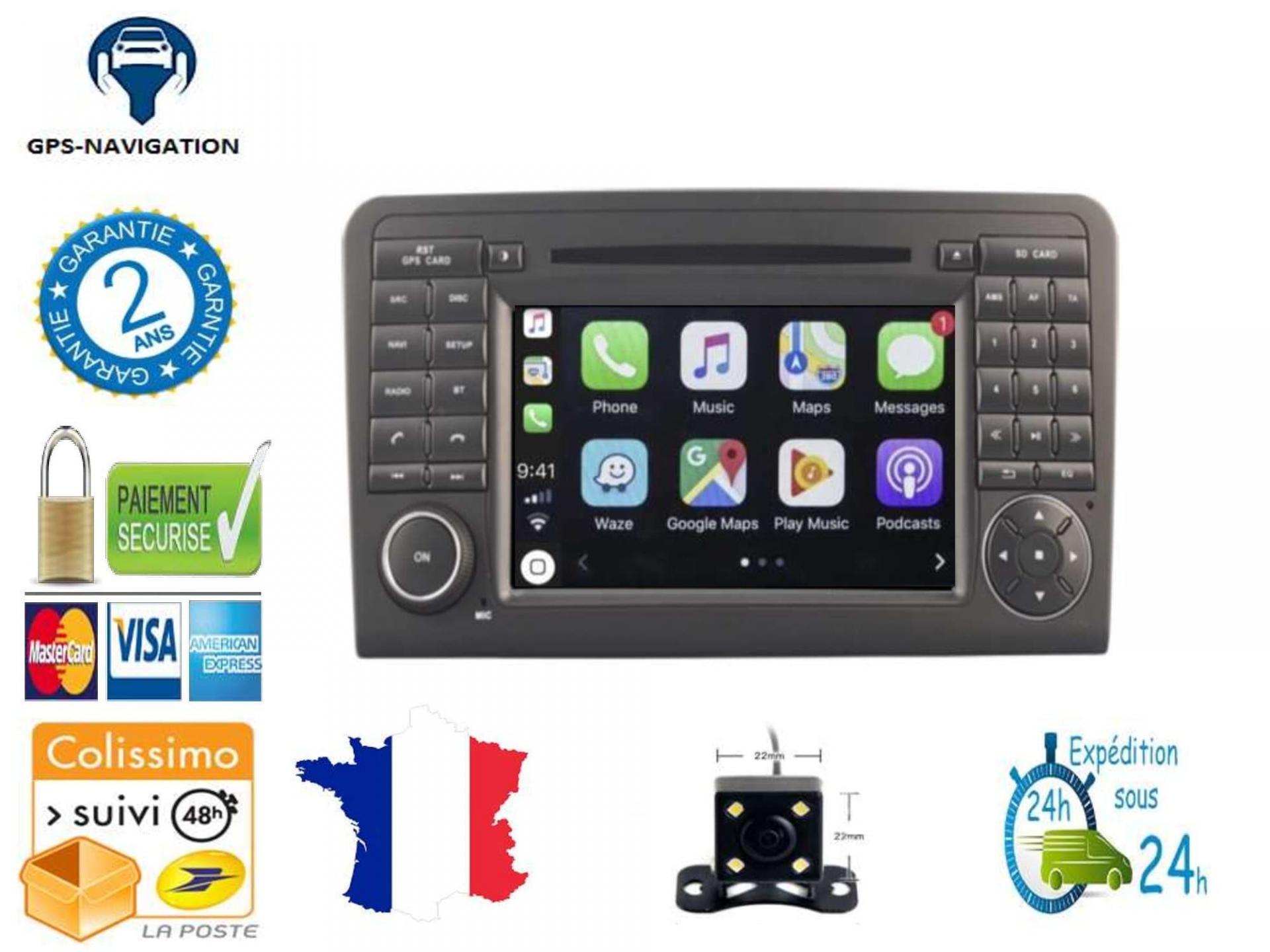 Autoradio gps carplay android auto gps bluetooth mercedes ml w164 2