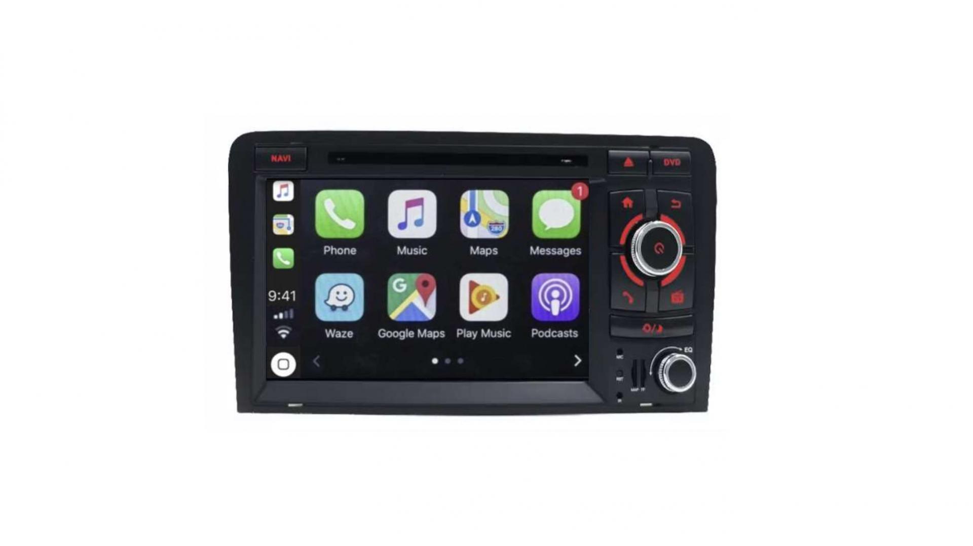 Double din bluetooth android audi a3 8p s3 rs sportback camera de recul commande au volant carplay android auto1