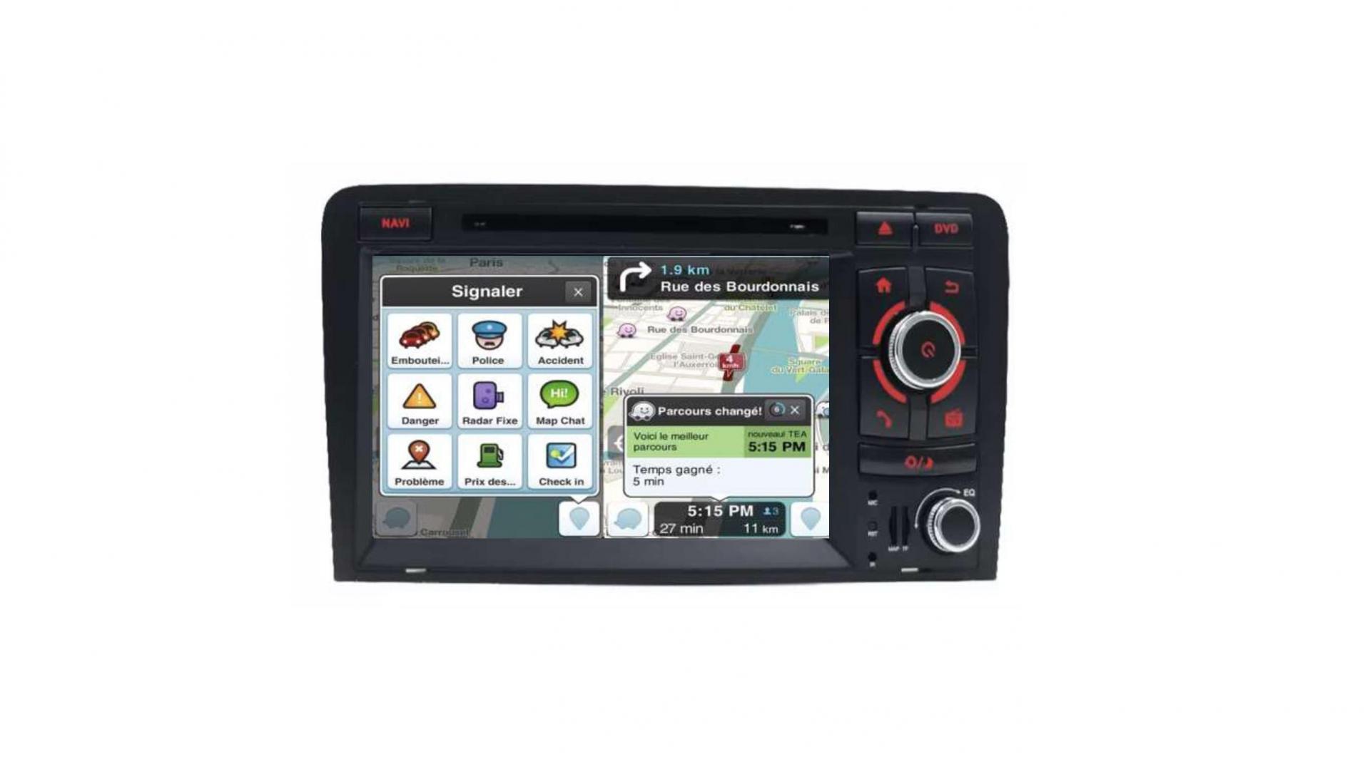 Double din bluetooth android audi a3 8p s3 rs sportback camera de recul commande au volant carplay android auto2