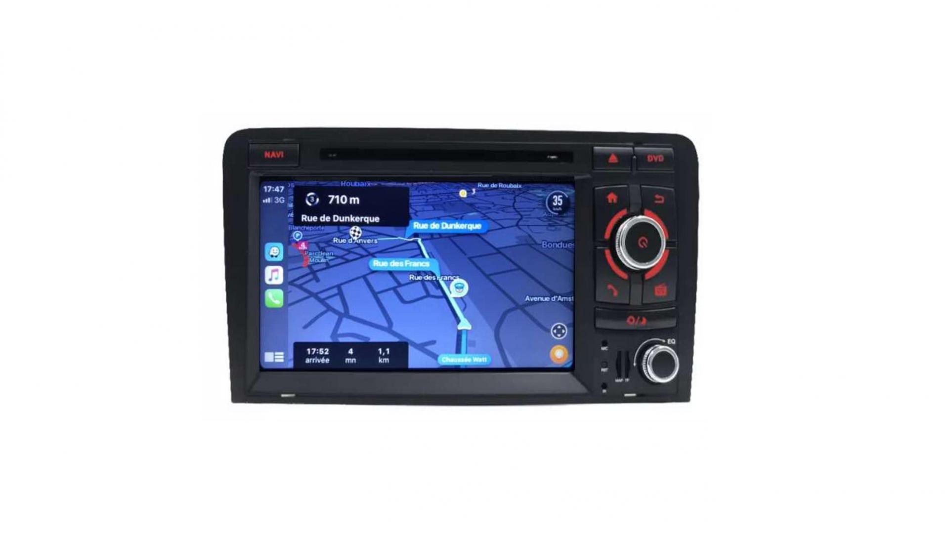 Double din bluetooth android audi a3 8p s3 rs sportback camera de recul commande au volant carplay android auto3