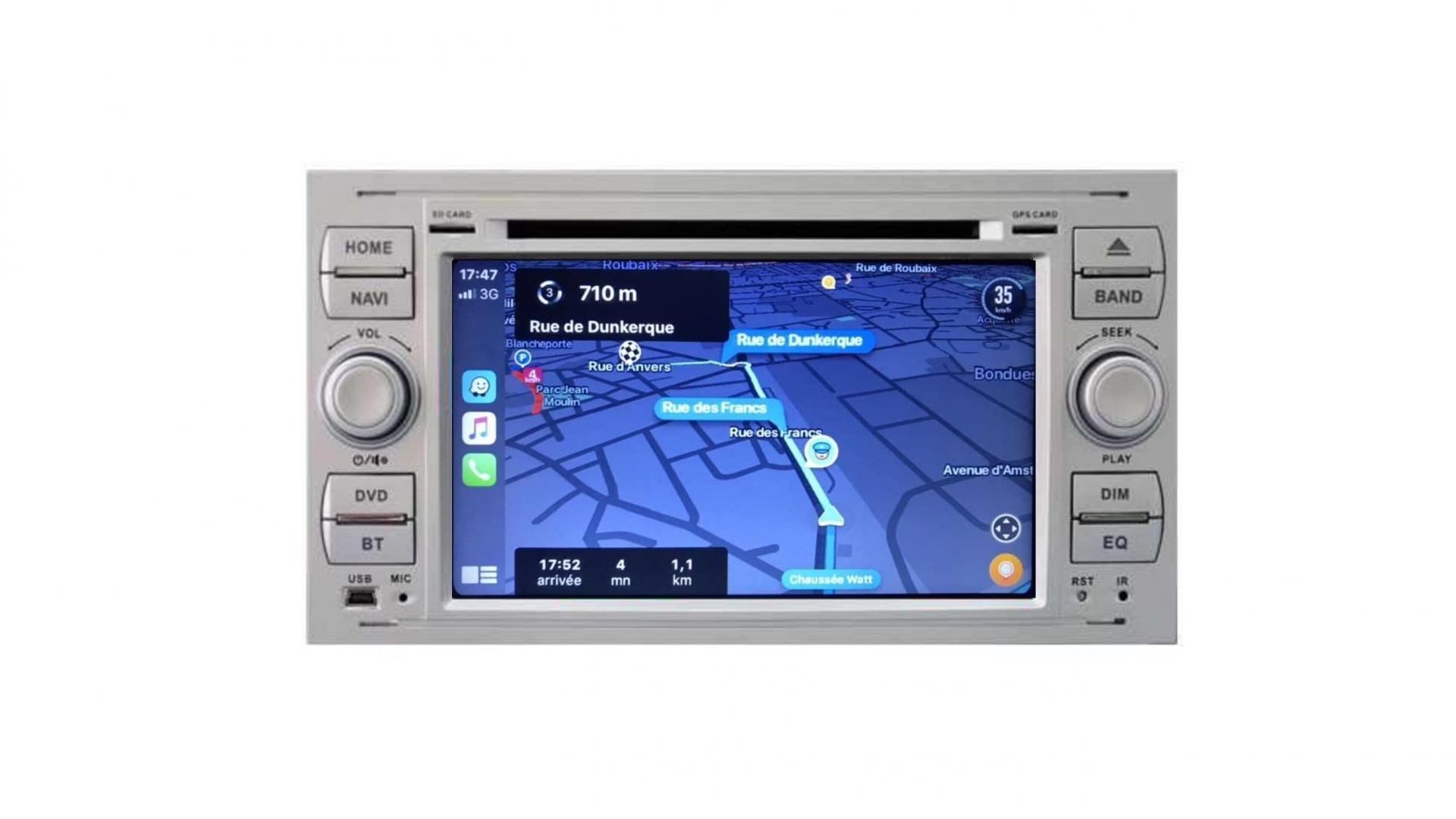 Ford transit kuga c max s max fiesta focus fusion autoradio gps bluetooth android auto carplay camera de recul commande au volant4