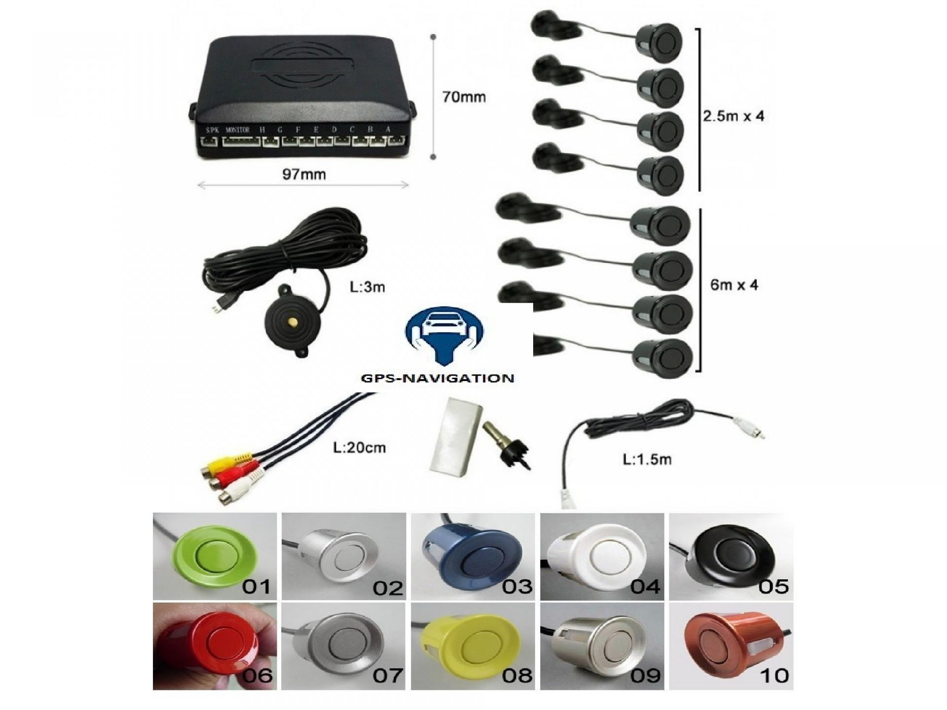 Gps navigation fr affichage video camera avant arriere radars avant arriere plusieurs couleurs trepan 3 3