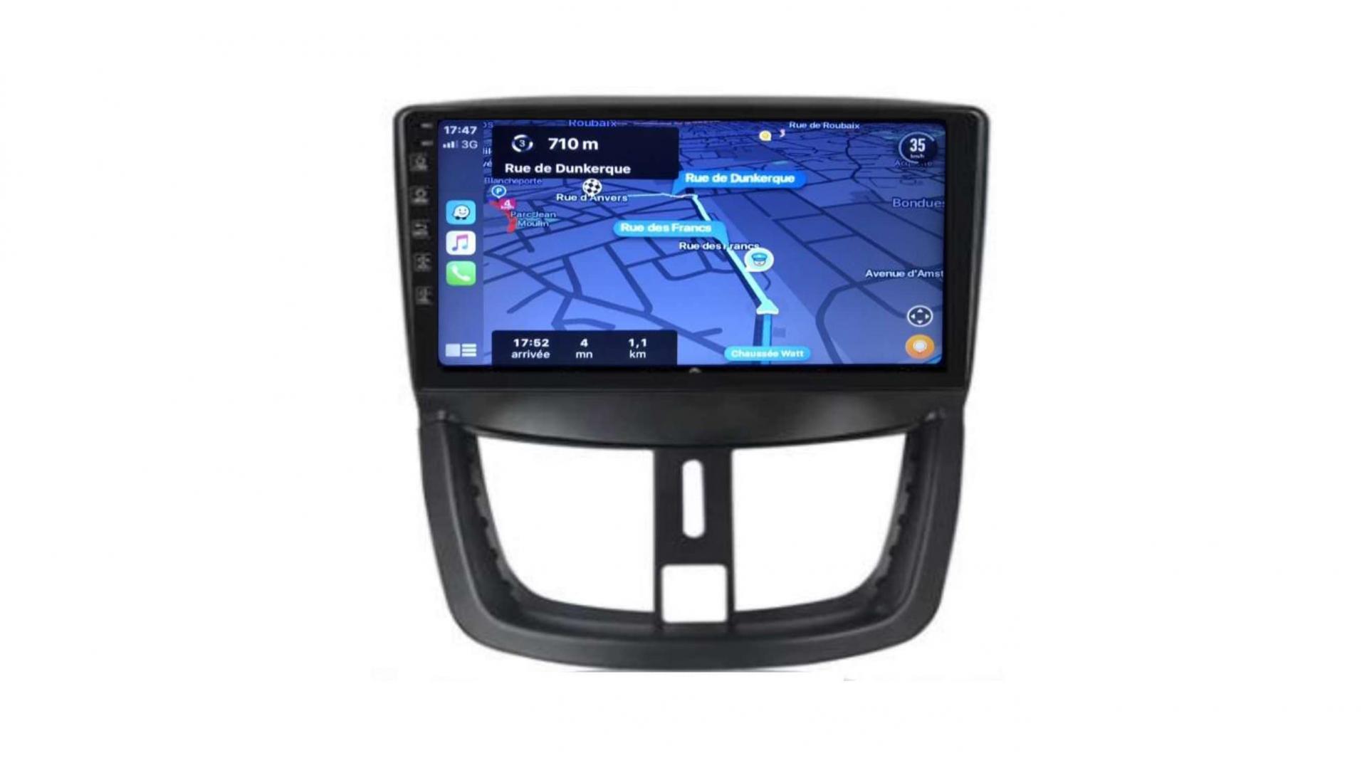 Peugeot 206 207 3008 5008 408 rcz autoradio gps bluetooth android auto carplay camera de recul commande au volant1