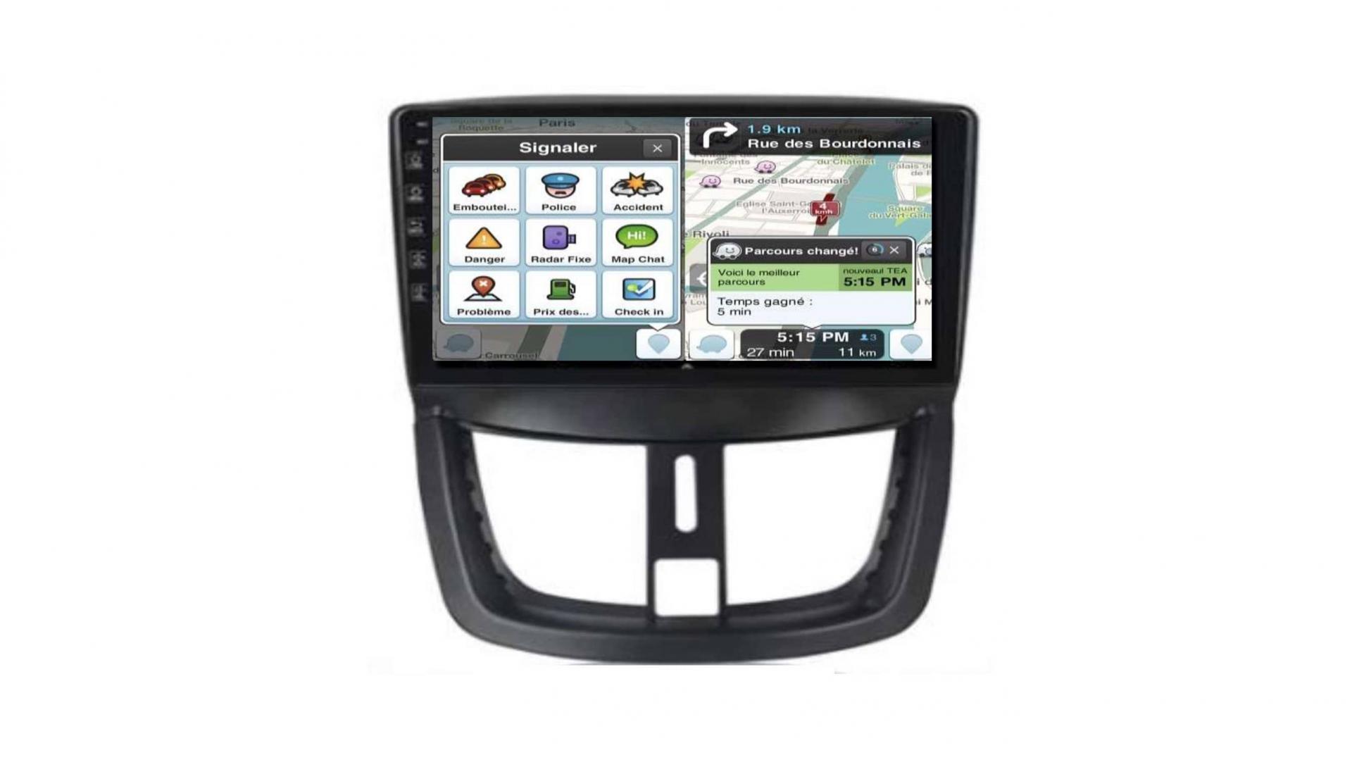 Peugeot 206 207 3008 5008 408 rcz autoradio gps bluetooth android auto carplay camera de recul commande au volant5