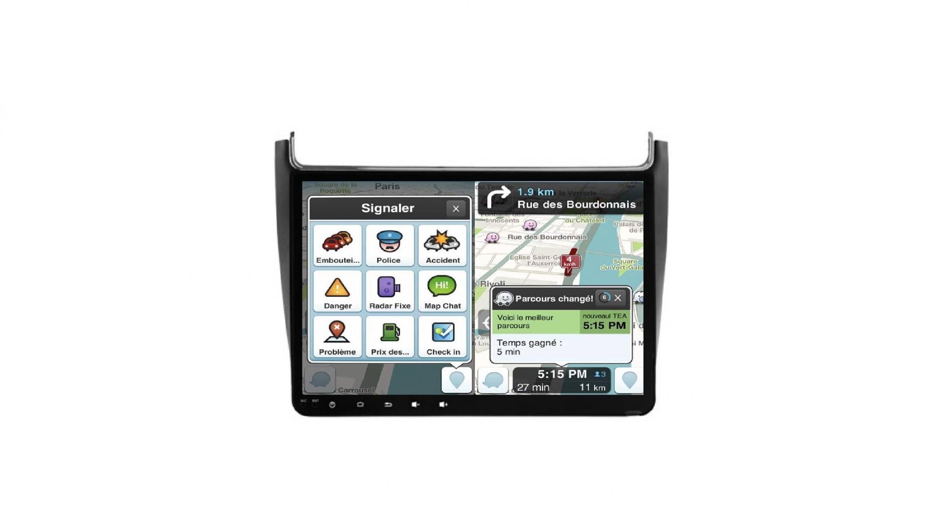 Vw polo autoradio gps bluetooth android auto carplay camera de recul commande au volant3